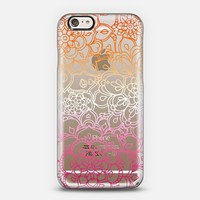 Peach and Pink transparent floral doodle iPhone 6 case by Micklyn Le Feuvre   Casetify
