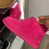 UGG hot sale classic solid color middle cut men's and women's casual shoes warm boots