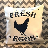 Fresh Eggs Farmhouse Decorative Throw Pillow