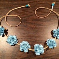 Light Blue Rose Flower Headband, Flower Crown, Flower Halo, Festival Wear, Coachella, Bridal, Hippie Headband