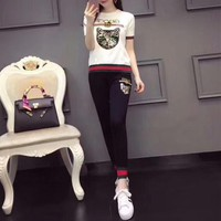 """""""Gucci"""" Women Casual Fashion Knit Multicolor Sequin Cat Head Letter Embroidery Short Sleeve Trousers Set Two-Piece Sportswear"""