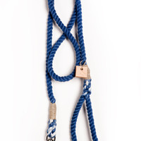 """Dog leash dog collar pet accessory dog lead: Small navy cotton rope 50"""""""