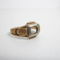 Vintage Art Deco Ring: 10k Gold Empty Setting 4.45g