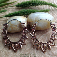 """Tribal Hanging Earrings, """"Copper Leaves"""" Copper, Brass/Sterling Posts, Handcrafted"""