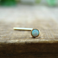 Nose Stud White Opal Gold 3mm