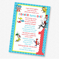 Dr Seuss Birthday Party - Invitation - PRINTABLE (21-206)