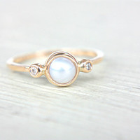 White Pearl and Diamond Ring 14k Yellow Gold Natural Pearl Diamond Gold Ring Made in Your Size Pearl Diamond Engagement Ring