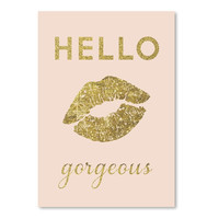 Americanflat Peach & Gold Hello Gorgeous Graphic Art