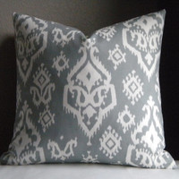 Grey small Ikat pillow cover fabric both sides, all sizes available
