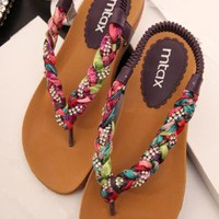 Colorful Braided Flat Sandals NGF06050602