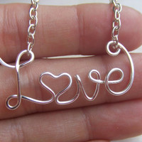 Love Necklace Personalized Name Necklace Silver Up to 8 Letters Wire Word Necklace Word Jewelry Wire Wrapped Grad Gifts Under 20