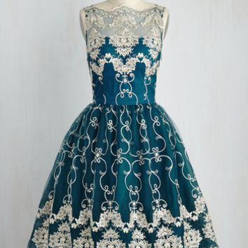 Vintage Inspired Long Sleeveless Fit & Flare Reign or Shine Dress