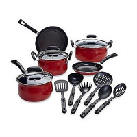 Nonstick Stainless Steel Carbon Steel 14 Piece Cookware Pots and Pans Set,Red