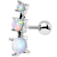 White Synthetic Opal Steel Triad Left Tragus Cartilage Earring   Body Candy Body Jewelry