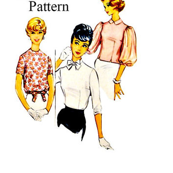 Vintage Easy to Sew Blouses Tops 50s Sewing Patterns Tuck In Tailored Bow Neckline Overblouse Drawstring Hem McCalls 5047 Pattern Bust 38