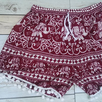 Red Pom pom Short Elephants Unique Boho Print Summer Beach Chic Fashion Trim Tribal Aztec Ethnic Clothing Bohemian Ikat Cloth Hobo