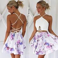 Summer Spaghetti Strap Strapless White Patchwork Print One Piece Dress [7788971655]