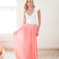 Idolized Coral Maxi Skirt