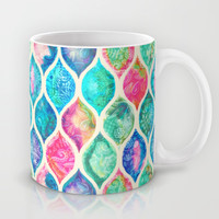 Watercolor Ogee Patchwork Pattern Mug by Micklyn