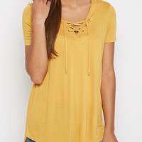 Mustard Lace-Up Tee