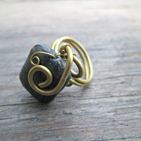 Obsidian Stone Ring - Obsidian Ring - Wire Wrapped Ring - Grey Stone Ring - Bohemian Ring - Hippie Gypsy Ring - Boho Jewelry