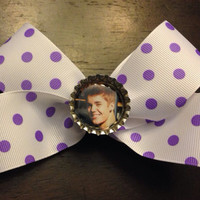 Justin Bieber Purple & White Polka Dot Hair Bow by OhSoCr8tive