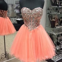 Pink Sparkling Beaded Homecoming Dress