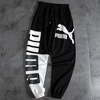 PUMA Fashion Women Men Casual Print Sport Pants Trousers Sweatpants Black