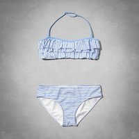 striped two-piece halter swimsuit