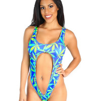 420 Cannabis O Cutout Rave Bodysuit