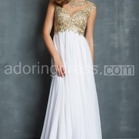 Delicate Rich Beaded Bodice Chiffon Skirt With Open Back