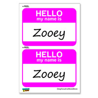Zooey Hello My Name Is - Sheet of 2 Stickers