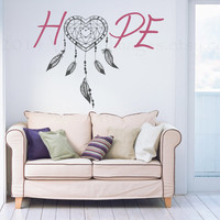 Hope heart dream catcher wall decal, vinyl decal, wall art