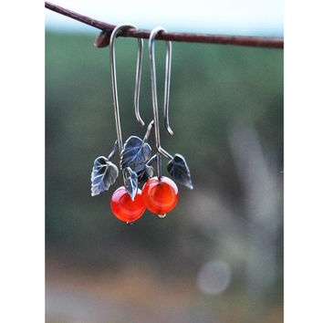 Earrings Cranberries. Dandle Red Beads Earrings. Minimalistic Silver Leaf. Design Jewelry. Earrings For Women By Three Snails Free Shipping