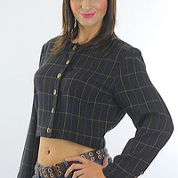 Vintage 90s Grunge Black plaid button crop jacket top