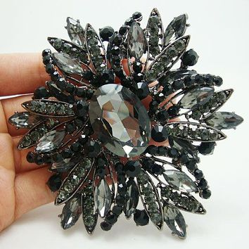 Vintage Style Black Brooch Pin Jewelry Black Flower Large Rhinestone