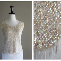 Gorgeous Iridescent Sequin and White Beading Vintage 1960s Shirt / Blouse 1960s Burlesque Costume / Glam Rockabilly VLV Mod
