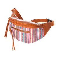 Venice Beach Embroidered Pastel Stripes and Camel Faux Leather Belt Bag