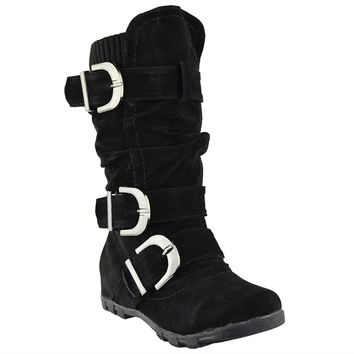 Kids Knee High Boots Ruched Leather Triple Buckle Side Zipper Closure black