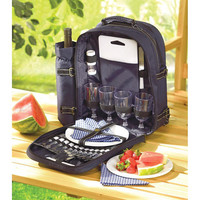 Conveniently Organized Picnic Backpack with Place Setting Set for 4 (30 pieces)
