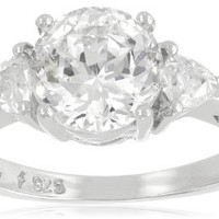 """Platinum Plated Sterling Silver """"100 Facets Collection"""" Cubic Zirconia Three-Stone Ring (3 cttw), Size 8"""