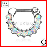 14k Gold Ring 16G 14G Solid White Gold Septum Clicker Opal Ring Nipple Ring Cartilage Helix Hex Piercing Tragus Jewlery Conch Ring