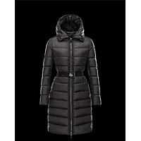 Moncler FABREFUR Detachable belt Turtleneck Black Coats Polyester/Beaver Womens 414567