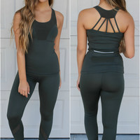 Admire Olive Mesh Paneled Leggings