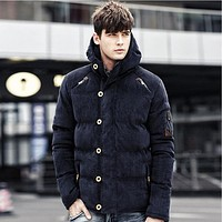 Men Winter Cotton Windproof Thick Warm Parkas Cardigan Jacket Coat