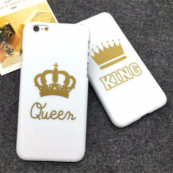 Fashion Brand King Queen Hard Plastic Ultra Thin Back Cover for Apple iPhone 6 6s plus Phone Cases Luxury Crown Slim Shell Coque