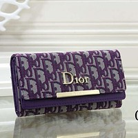 DIOR new product full printed letter flap wallet ladies clutch purse Bag