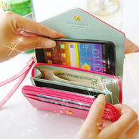 Pink Mobile phone bag purse change purse Wallet With Card Pocket