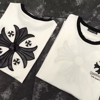 """Chrome Hearts"" Unisex Personality Leather Cross Embroidery Letter Print Couple Short Sleeve Cotton T-shirt Top Tee"