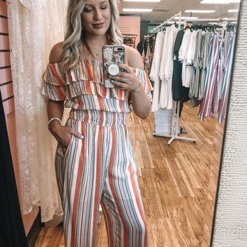 Peach Striped Ruffle Jumpsuit